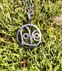 Diamond Love Pendant on Oxidized Sterling Silver Chain