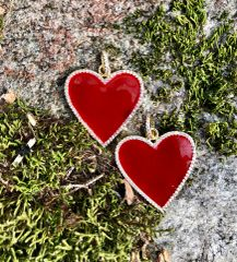 Dark Red Enamel Heart set in 14kg Plated Setting on Blue or White Leather