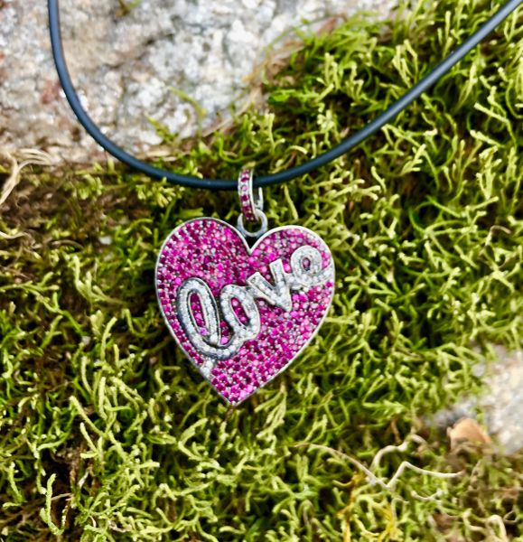 Ruby and Diamond Love on Rubber Necklace