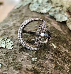 Sterling Silver and Diamond Moon and Star Ring