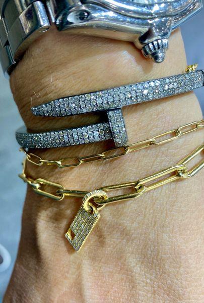 Sterling Silver and Full Diamond Nail Bracelet