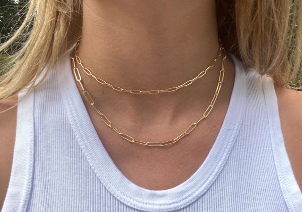 16 Inch - 14kg filled paperclip chain necklace in small 6mm x 3mm