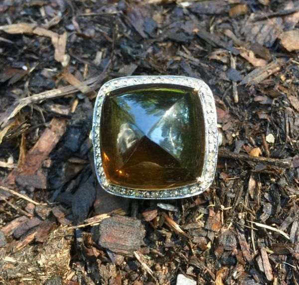 Smokey Topaz Ring with Diamond Surround in 18kg