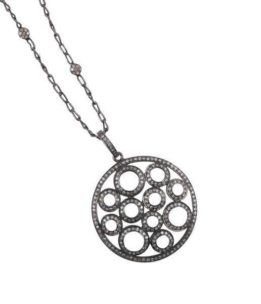 Diamond Circles Pendant on Diamond Chain