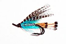 Teal Blue & Silver Salmon Fly double hook