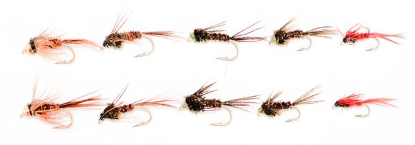 8 pcs. Pheasant Tail Mixed Colors and Sizes Multi Pack