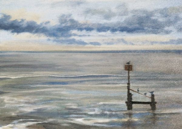 The Sea at Southwold, Suffolk. Signed Box Canvas Print