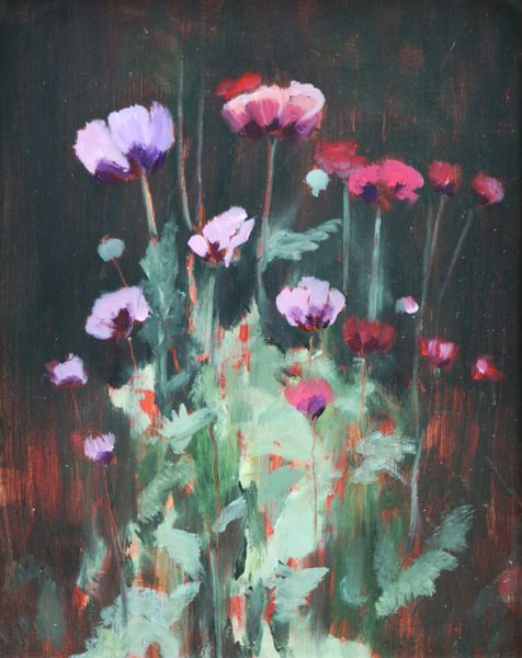 Poppies Print Signed on Box Canvas