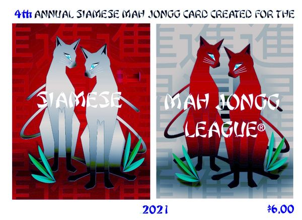 SIAMESE MAH JONGG PLAYING CARD - LARGE CARD