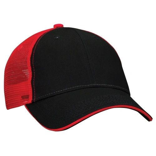 Mesh Back Sandwich Cap - Mid Profile - Black/Red