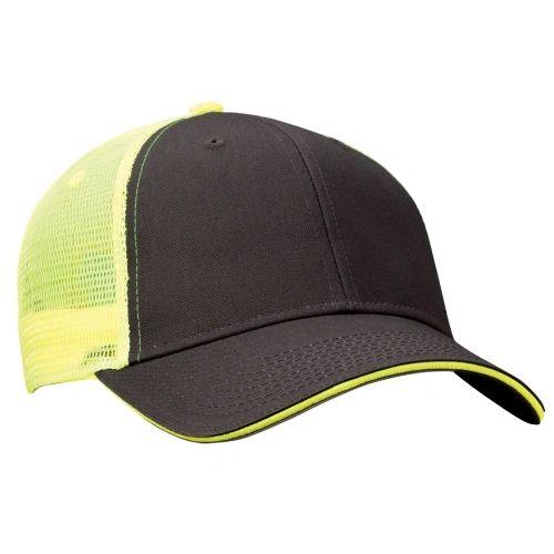 Mesh Back Sandwich Cap - Mid Profile - Charcoal/Neon Yellow