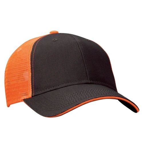 Mesh Back Sandwich Cap - Mid Profile - Charcoal/Neon Orange