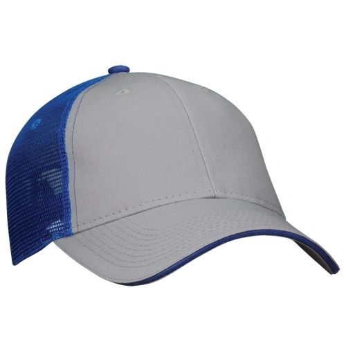 Mesh Back Sandwich Cap - Mid Profile - Grey/Royal Blue