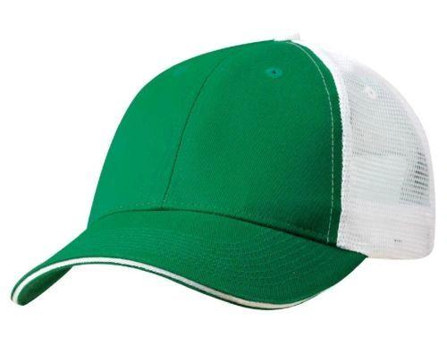 Mesh Back Sandwich Cap - Mid Profile - Kelly Green/White