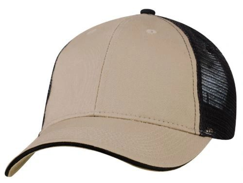 Mesh Back Sandwich Cap - Mid Profile - Khaki/Black