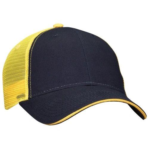 Mesh Back Sandwich Cap - Mid Profile - Navy/Gold