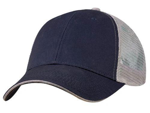 Mesh Back Sandwich Cap - Mid Profile - Navy/Grey
