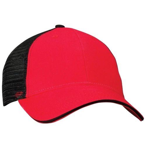 Mesh Back Sandwich Cap - Mid Profile - Red/Black