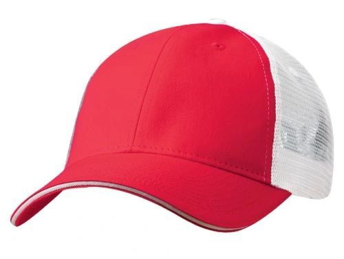 Mesh Back Sandwich Cap - Mid Profile - Red/White