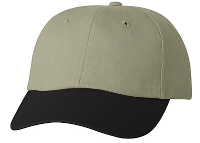 Cotton/Twill Cap - Low Profile - Khaki/Black Bill