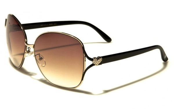 96005 Romance Large Round Aviators Black Brown
