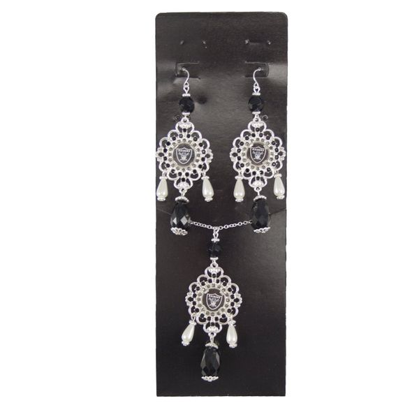 NFL Oakland Raiders Baroque Necklace and Earrings Collection