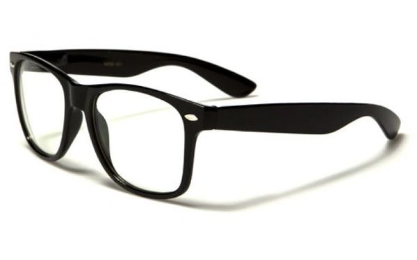 Retro Clear Lens Black - 2 Pair