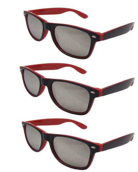 Retro Two-toned Black and Red - 3 Pair