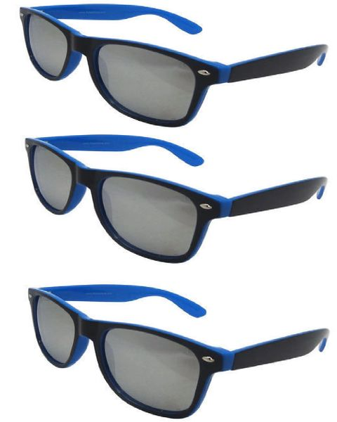 Retro Two-toned Black and Blue - 3 Pair