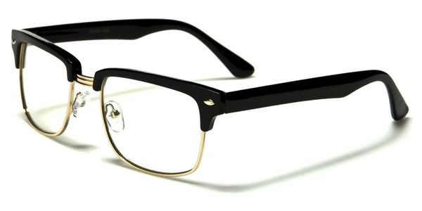 Retro Nerd Clear Lens Black Gold