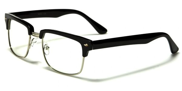 Retro Nerd Clear Lens Black Silver