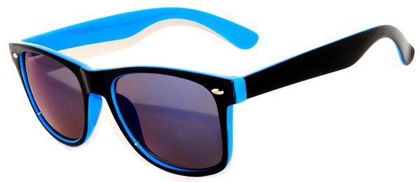 Retro Two-toned Black and Blue with Colored Lens