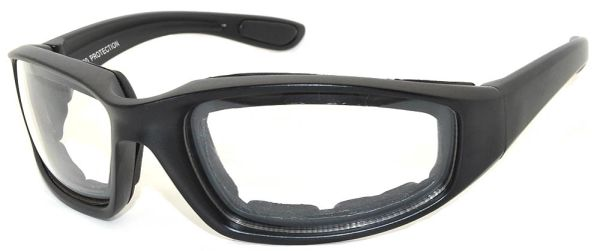 750 Padded Motorcycle Black Clear Lens