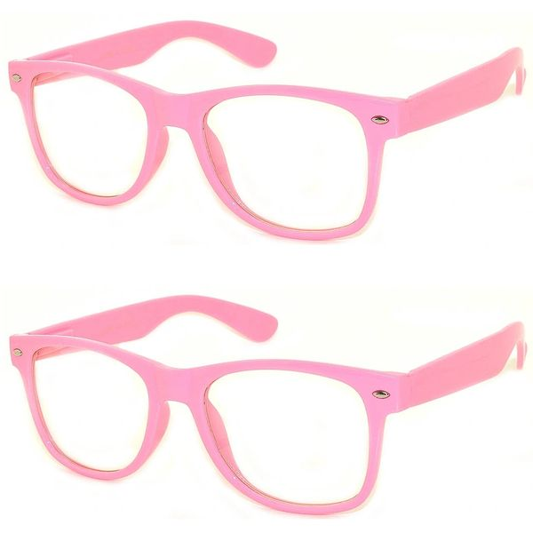 Retro Clear Lens Pink - 2 Pair