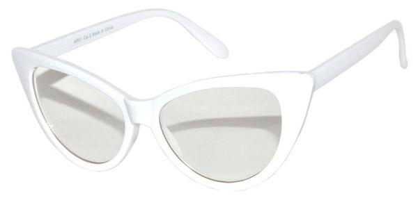 Retro Cat Eye Clear Lens White
