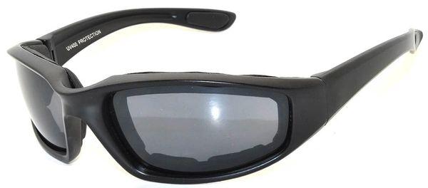 750 Padded Motorcycle Black Smoke Lens