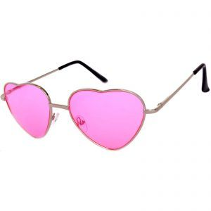 Silver Heart Frame Pink lens