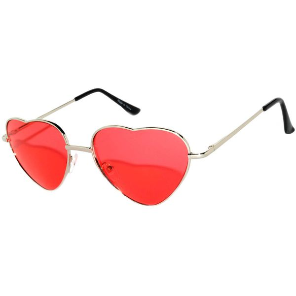 Silver Heart Frame Red lens