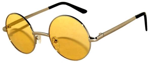 Round Silver Yellow Lens