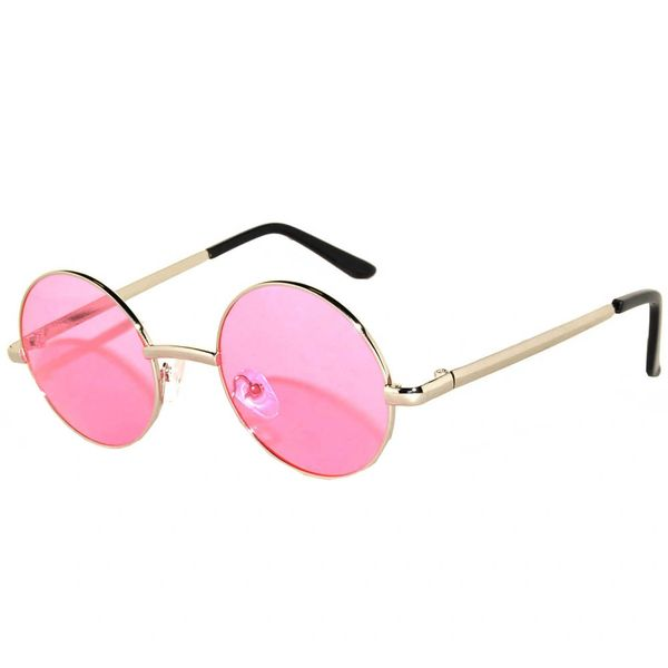 Round Silver Pink Lens