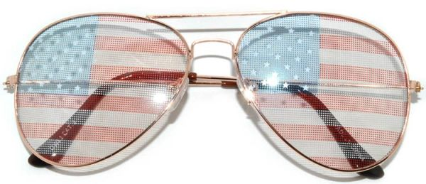 2 Pair 750 USA Flag Aviator Gold Light Lens - 2 Pair