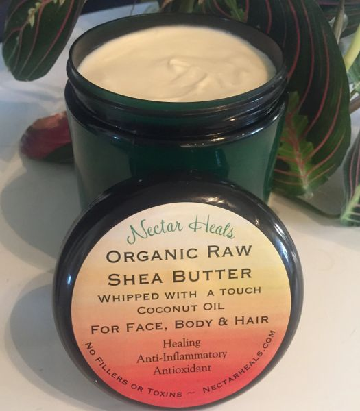 Healing Raw Shea Nut Butter Cream - Ivory Shea butter whipped with option of lavender or tea tree oil 16 oz.