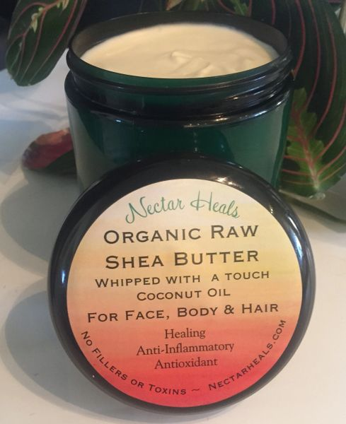 Healing Raw Shea Nut Butter Cream - Ivory Shea whipped with option of lavender or tea tree oil 8 oz.