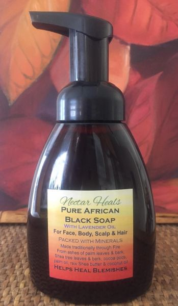 African Black Soap with Lavender Oil, amber bottle, foam pump, 10 oz. - No thickenings agents or fillers -Potent Healing