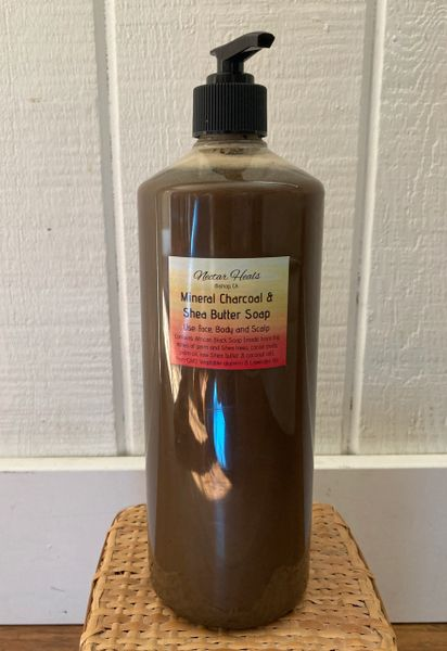 Mineral Black Soap with Lavender Oil 32 oz. w/pump. No fillers or thickening agents