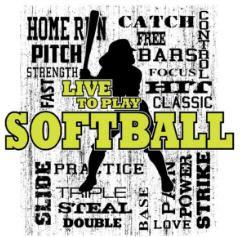 SB Words Softball Black