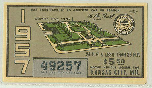 Missouri 1957 Kansas City City Tax Decal #49257