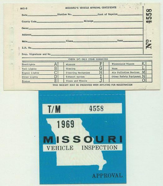 Missouri Safety Inspection >> Missouri 1969 Vehicle Inspection Decal 4558
