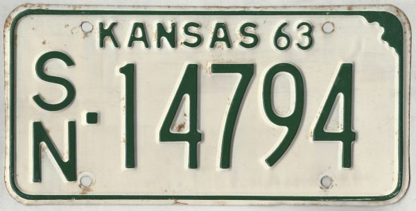 Kansas 1963 car license plate Shawnee Co. #SN-14794 | Kansas License Plates
