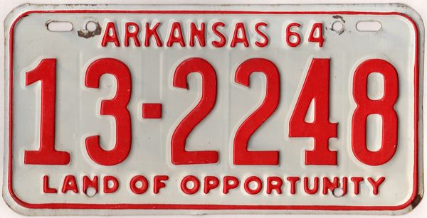 Arkansas 1964 car license plate White county #13-2248